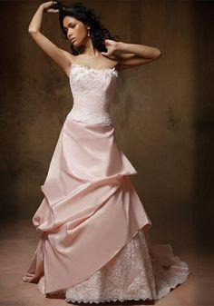 Robe De Mariee Rose Pale Et Dentelle Cosmobella Taille 40 Les